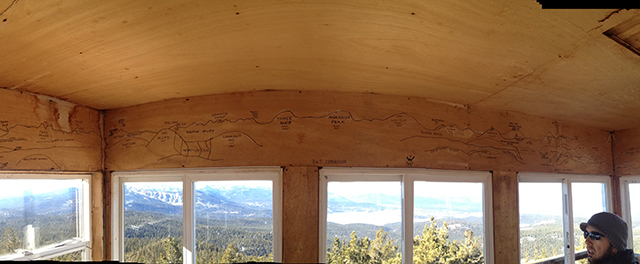 A useful map of the visible mountains is drawn in Sharpie above the windows.