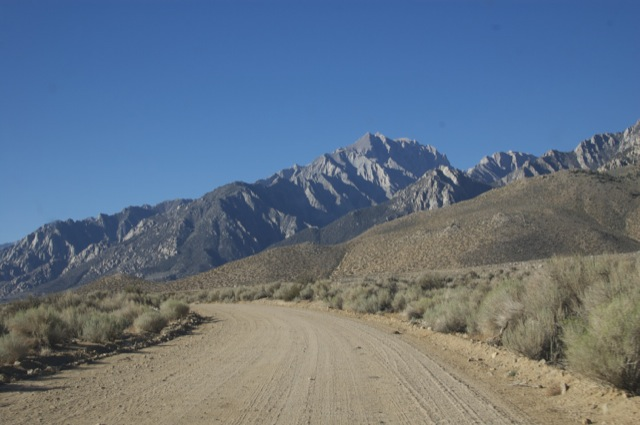 Mt Williamson looming ahead of us as we drive up Foothill Road.