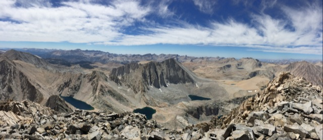 Summit view down to the Williamson Bowl.  Fun fact: these lakes contain possibly the only pure strain of the threatened Colorado River cutthroat trout, transplanted there in 1931.