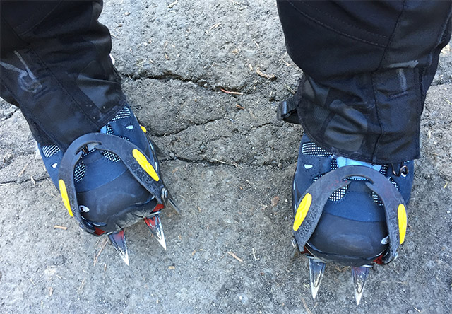 Trying on the crampons while still in the parking lot.