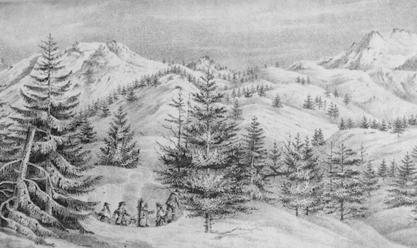 Sketch of Elephants Back and Red Lake Peak by Charles Preuss, 1844