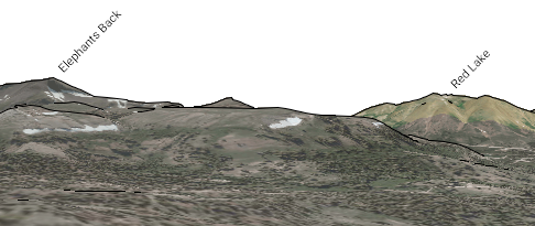 "Simulated digital view from CalTopo from ""Long Camp"" where above sketch was made."