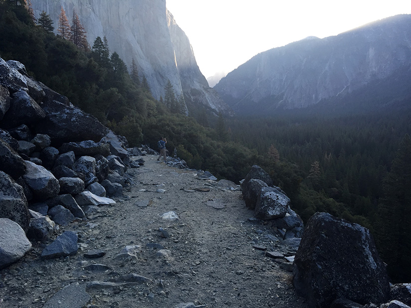 The old road next to an old rock slide.
