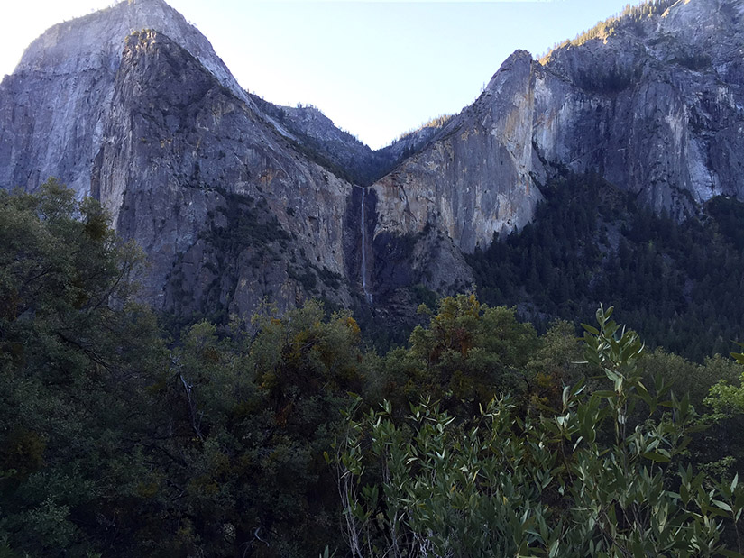 Looking across Yosemite Valley to Bridalveil Fall.