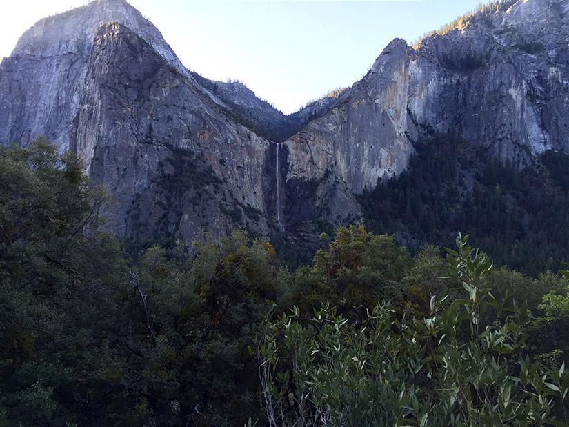 Looking across Yosemite Valley to Bridalveil Fall.