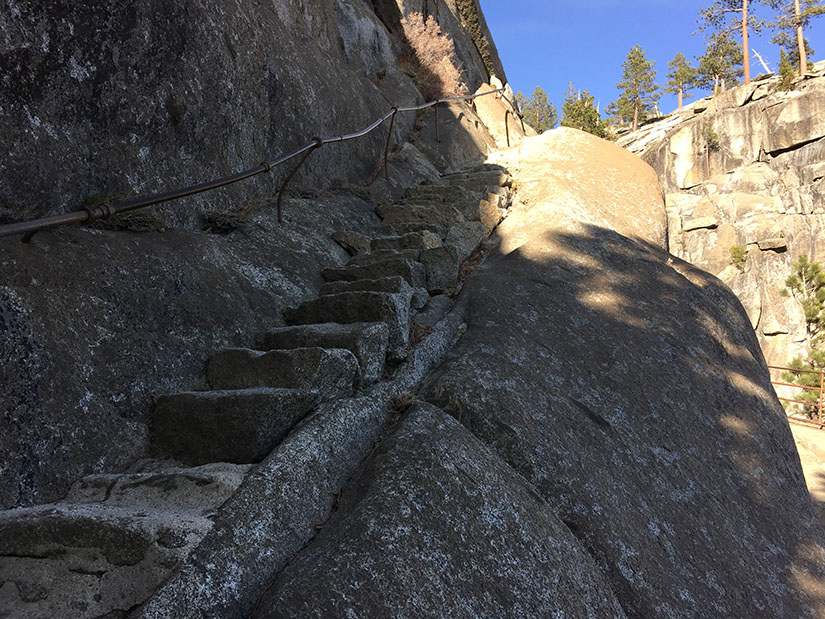 Granite stairs down to the Yosemite Fall overlook.