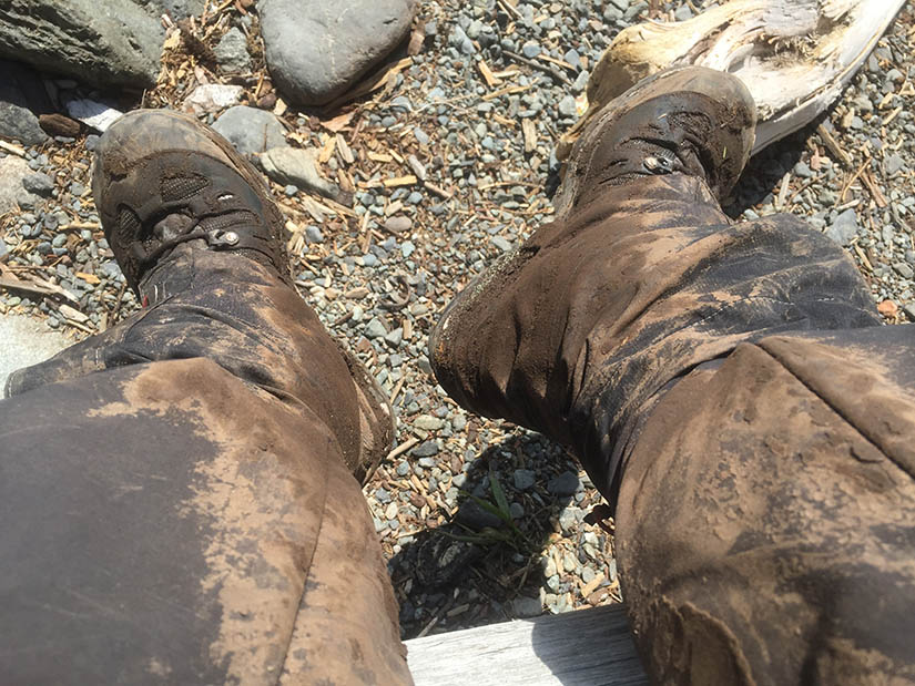 Muddy boots and gaiters.