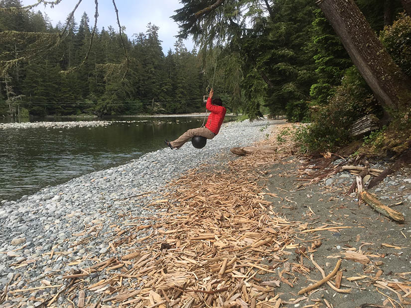 Rope swing made out of a buoy at Walbran Creek camp.