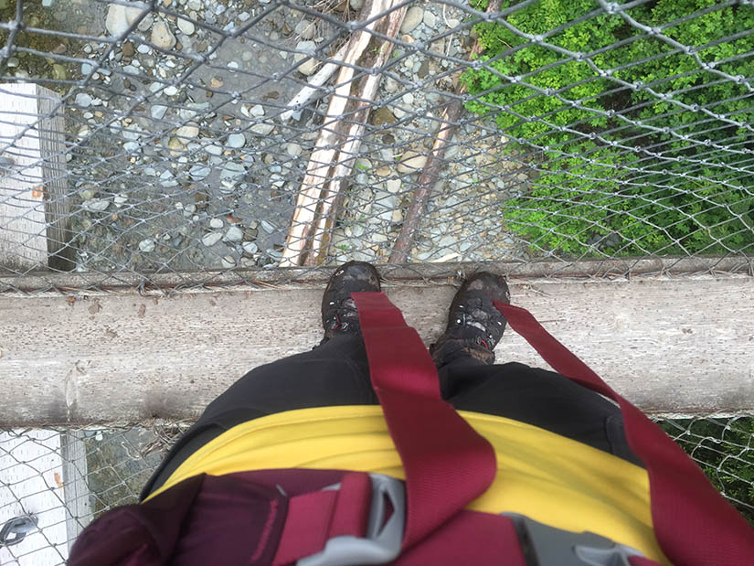 On the bridge at Logan Creek.