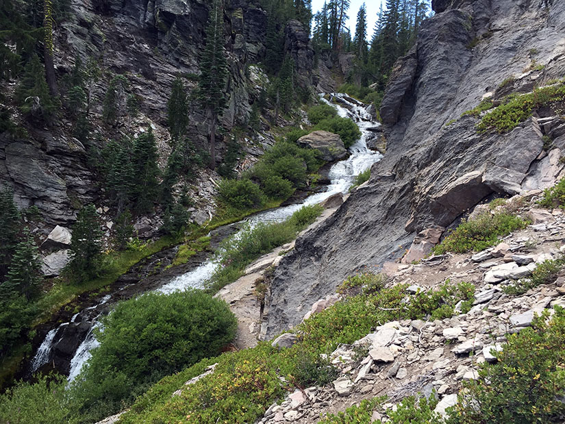A look back to the upper cascades.